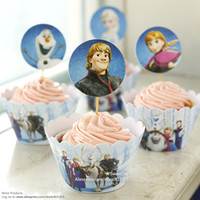 Wholesale new Frozen party supplies favors cupcake wrappers cup cake toppers picks for kids birthday decorations accessories