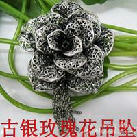 Wholesale Ancient silver rose pendant cheap fashion hollow flower shaped pendant patented design HX310300