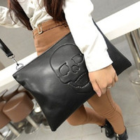 Cheap Hot 2014 New Fashion Punk Black Skull Face Designer PU leather Handbag Women's Shoulder Bag Lady Cross Body Bag Drop Shippingg