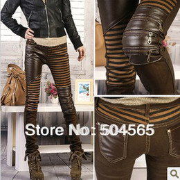 Wholesale Women PU Leather Patchwork Jeans Pants Fashion Zippers Boots Trousers Pencil Pants Plus Size PT Brown Black