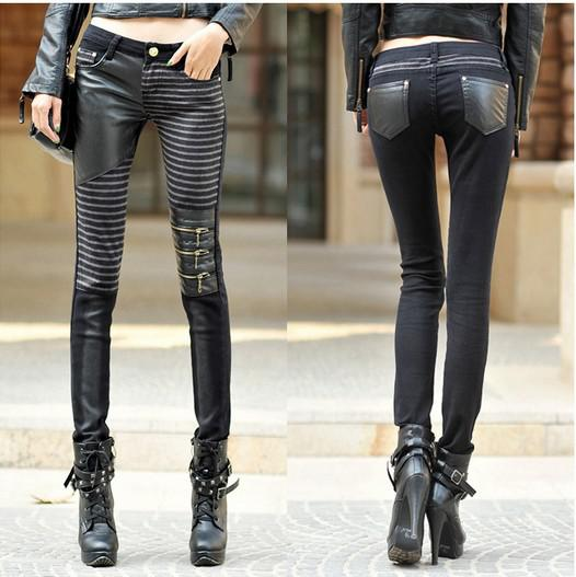 2017 New Fashion Pu Leather Patchwork Jeans Women&39s Denim Three