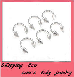 Nose ring 100pcs lot mix 6 8. 10 12 14mm stainless steel body jewelry cone horseshoe Ring