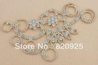 Wholesale 1x Clear Glass Rhinestone Gold Applique Motif Bridal Dress Ornaments