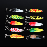 bait film - 10pc Fishing Bait High Quality Spoon Lures CM G with Hooks Fishing Lures Laser Film on lures Fishing Tackle Free Ship