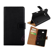 Wholesale For Nokia Lumia Genuine Real credit card stand Holster Wallet Leather Pouch Case N930 smooth skin Cover black