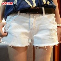 Cheap IRIS Knitting DK-034 Fashion Ripped Holes Denim Shorts Women Hot Beach Short Pants Summer Cool Jeans Puls Size