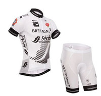 Cheap 2014 TOUR DE FRANCE Bretagne-Seche TEAM WHITE SHORT SLEEVE CYCLING JERSEY CYCLING WEAR + SHORTS SET SIZE:XS-4XL S9