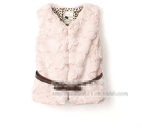 Wholesale Trendy Autumn Winter Children Clothes Cotton Girls Soft Warm Fur Padding Coat Waistcoat with Belt Jacket Overwear Overcoat Pink Beige K0369