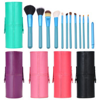 Cheap Wholesale-MN-Professional Brush Makeup Set 12pcs Cosmetic Tool Kit PU Leather Holder Storage Case