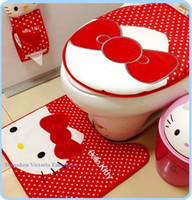 Cheap 10PCS Wholesale KAWAII Bathroom Decors Soft Cotton 3PCS=ISET Sitting Toilet Seat Cushion Mat + Floor Mat PAD + Closestool Cover