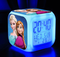 Cheap LED 7 Colors Change Digital Alarm Clock Frozen Anna and Elsa Desk Table Clocks Thermometer Night Colorful Glowing Clock Free Shipping 60pcs
