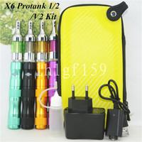 Single Multi Metal 2014 Top seller ego X6 Electronic cigarette X6 Kit VV E Cig Variable Voltage 1300mah Battery with Protank2 V2 atomizer zipper case DHL free