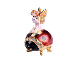 Crafted gifts fairy on ladybug metal jewelry trinket box unique vintage decor metal gift metal collectibles