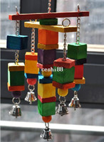 Wholesale moveable Parrot bird toys swing wood chew rope toys fun with bells medium size