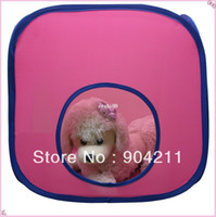 Wholesale HOT amp NEW bright pink Cat Castle only Folding portable pet cat Tunnel tent house cage DIY combinations gifts