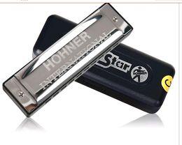 Wholesale New Hohner international Silver Star hole harmonica Diatonic key C Blues Jazz band Music instrument retal