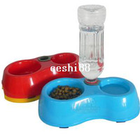 Cheap Free Shipping High Quality Dual Port Dog Utensils Bowl Cat Drinking Fountain Food Dish Pet Bowl Automatic Water Dispenser Feeder