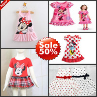 Cheap Wholesale-MN-New 2014 summer dress Kids girls clothes cute Mickey Mouse Minnie Dress children clothing girls dress brand free shipping