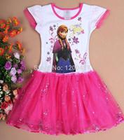 Cheap Wholesale-MN-Hu sunshne New 2014 summer kids TUTU dress new baby girl Elsa frozen dress sequin dresses fashion baby & kids clothing