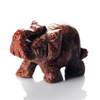 Wholesale 1 inch Red Jasper Elephant stones carved Crafts Figurine healing reiki free pouch