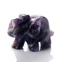 Crystal elephant figurines - Band Amethyst Dog teeth Elephant inch stone carved Crafts Figurine Chakra healing reiki free pouch