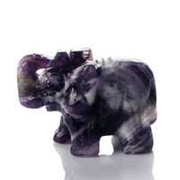 ECO Friendly elephant figurines - 1 inch Band Amethyst Dog teeth Elephant stones carved Crafts Figurine healing reiki free pouch