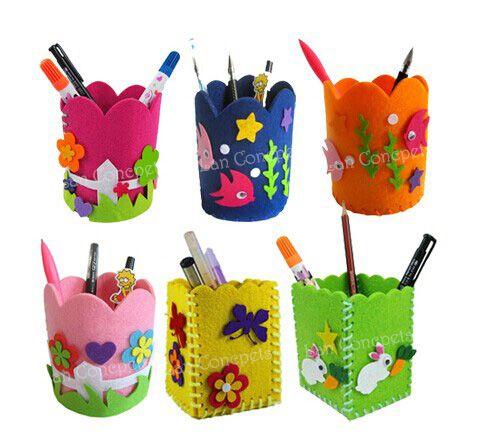 2017 Kids Gift Craft Kit Felt Pen Holder Pencil Vase For