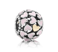 Wholesale 100 Sterling Silver Abundance of Love with Real K Gold Heart Bead Fits European Pandora Style Charm Jewelry Bracelets