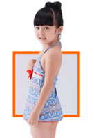 Cheap Vintage baby clothes kids swimwear Two piece suit Mediterranean style Light blue floral Bathing suits Smooth fabric bandage and bow S031