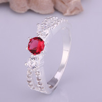 Wholesale New listing Silver rings jewelry Mixed color gemstones fashion Elegant Swarovski Elements crystal ring Factory Direct
