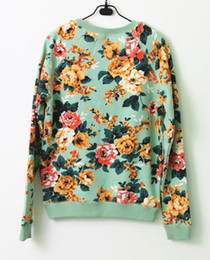 Wholesale Harbeth Exclusive Limited Units New spring women s overall floral printed basic cotton french terry pullover sweatshirt