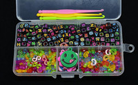 Jelly, Glow Bohemian Unisex Loom band Alphabet Beads+S-Clips+C-Clips+Charms+Hook+Box Kit For Rainbow Loom Rubber Bands