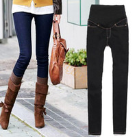 Wholesale 2 Colors Stylish Cotton Pants Women Fashionable Skinny Pants Women Maternity Jeans Trousers Z