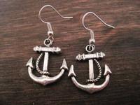alloy brass wire - Hot MEDIUM ANCHOR Earrings SP ROCKABILLY SAILOR JERRY NEW silver Fishhook Ear Wire z561