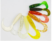 Cheap Soft Lures for Fishing Soft Bait Soft Plastic Worm Bait Soft Grub Fishing Lures 5cm 1.1g Mix Colors 100pcs lot Wholesale+ Fishing Baits & Lu