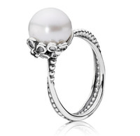 Cheap Brand Designer Sterling Silver Fresh Water Pearl CZ Crystal Wedding Promise Engagement Rings Women Cluster Statement Ring
