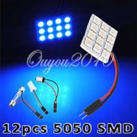 Wholesale Blue SMD LED Car Interior Panel Light Lamp Bulb T10 BA9S Festoon Adapter