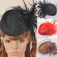 Wholesale Noble Women Lady Dress Vintage Fascinator Wool Pillbox Hat Hair Accessory Party Wedding Veil Feather Net