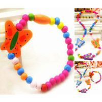 Cheap T1022 Fashion Korean children's accessories Girls Cute Wood Colored beads Butterfly Necklace Bracelet 2pcs set wholesale 20SET
