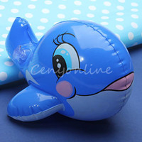 Cheap New Lovely Kawaii PVC Animal Inflatable Air-Filled Swimming Pool Shower Bule Whale Toys For Baby Children Kids Birthday Gift