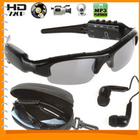 Wholesale 1280x720 HD Bluetooth Sunglasses Hidden Camera Portable Mini Sun Glasses DV DVR Video Recorder Support MP3 Player