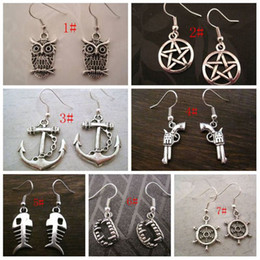 Wholesale Hot pair Antique Silver Mixed Charm Earrings styles XMAS GIFT z562