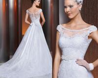 beautiful silver belt - Beautiful Via Sposa Wedding Dresses Off shoulder Illusion Backless Vintage Sheer Lace Applique Button Beads Belt Detachable Train