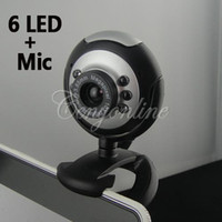 Cheap 30 Mega USB 2.0 6 LED PC Laptop Computer Night Vision Webcam Video Camera Web Cam + Micphone For Window XP ME 2000 For Win7 8