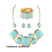 Wholesale Spring Jewelry Gold Color Alloy Blue Imitation Gemstone Chocker Necklace Stud Earring Elastic Bracelet Set