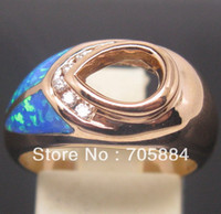 Cheap Pear 7*9 SOLID 14K ROSE GOLD NATURAL DIAMONDS WEDDING ENGAGEMENT & OPAL SEMI MOUNT SETTING RING