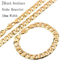 Wholesale 2016 Hot Sale MM Width inch inch Chain Necklace Bracelet Sets Men Fashion k Gold Plated Jewelry Sets Hight Quality
