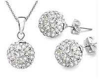 bead gift items - SMS06 Sales Items Silver MM Crystal Beads Stick Earrings Necklace Jewelry Sets Colors