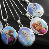 Wholesale 2014 Hot Frozen Girl Elsa Anna Stainless Steel Pendant Necklaces Fashion Baby Olaf Necklaces Jewelry Styles Mixed YW GD528