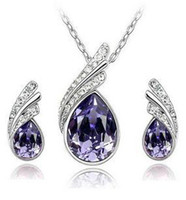 Cheap Fashion Austria Crystal Water drop leaves Earrings necklace jewelry sets Classic Wedding Dress B9.5